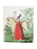 "A Lady Going Out on Horseback in Riding Dress from Nikolaus Heideloff's ""Gallery of Fashion"", Vol… Giclee Print by Nicolaus von Heideloff"