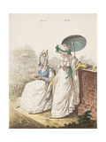 Morning Dresses, Figs. 111 and 112 from Nikolaus Heideloff's 'Gallery of Fashion' Vol II,… Giclee Print by Nicolaus von Heideloff