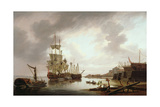 British Men of War at Anchor in Blackwall Reach, 1792 Giclee Print by Dominic Serres