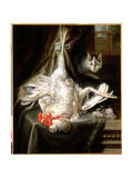 Still Life with a Hanging Cockerel and a Prowling Cat, 1669 Giclee Print by Samuel van Hoogstraten