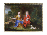 Portrait of Sir Charles Shuckburgh and His Wife, Diana, with Shuckburgh Hall, Warwickshire in the… Giclee Print by Adriaen van Diest