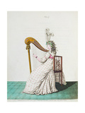 "Lady Playing the Harp in Evening Dress from Nikolaus Heideloff's ""Gallery of Fashion"", Vol II,… Giclee Print by Nicolaus von Heideloff"