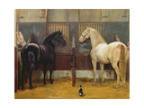 Creams and Blacks at Buckingham Palace Mews Giclee Print by Jean Edouard Lacretelle
