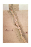 Map of the Zambezi River around Tete in Mozambique (Sheet 5), from Livingstone's Zambezi… Giclee Print by Thomas Baines