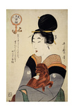 A Woman Holding a Dog in Her Arms, from 'Five Physiognomies of Beauty', C.1804 Gicleetryck av Kitagawa Utamaro