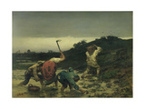 Peasants Harvesting Potatoes During the Flood of the Rhine in 1852 Giclee Print by Gustave Brion