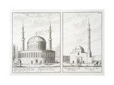 View of a Mosque in Bursa and a Mosque in Hungary, from 'Entwurf Einer Historischen Architektur',… Giclee Print by Johann Bernhard Fischer Von Erlach