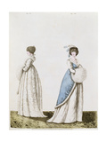 Afternoon Dresses Figs. 327 and 328 from Nikolaus Heideloff's 'Gallery of Fashion' Vol II… Giclee Print by Nicolaus von Heideloff