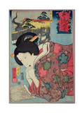 A Honey Shop and a Married Woman Looking at a Calendar, 1852 Giclee Print by Kuniyoshi Utagawa