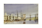 Marseilles, Shipping at Anchor and a Merchant Ship Becalmed, 1836 Giclee Print by William Callow