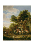 Landscape with Travellers Beside a Cottage Giclee Print by Barend Gael Or Gaal