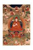 Thangka of Sakya Pandita with Thirteen Figures Including Lineage Lamas and Mahasiddhas, 19th-20th… Giclee Print