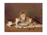 Three Cats, Red Cherries and Bees Giclee Print by Louis Eugene Lambert