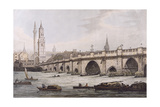 View of London Bridge, Including the Church of St. Magus and the Monument, Engraved by J.C. Stadler Giclee Print by Joseph Farington