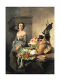 Serving Girl Standing by a Side-Table Covered with Food, 1859 Giclee Print by David Emil Joseph de Noter