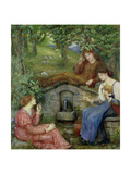 """By a Clear Well with a Little Field"", 1883 Giclee Print by Marie Spartali Stillman"