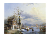 Skaters on the Lake Giclee Print by Jacob Jan Coenraad Spohler