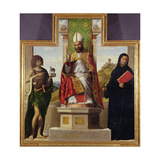 St. Lanfranc of Pavia Enthroned Between St. John the Baptist and St. Liberius, C.1515-16 Giclee Print by Giovanni Battista Cima Da Conegliano