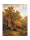 Autumn Stroll Giclée-tryk af Alfred Thompson Bricher