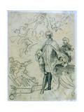 Sketch of Carlo Broschi 'Il Farinelli' (1705-82) Giclée-tryk af Jacopo Amigoni