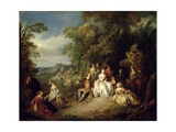 Elegant Company in a Park Giclee Print by Jean-Baptiste Joseph Pater