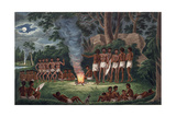 "Corroboree around a Camp Fire, from His ""Drawings of the Natives and Scenery of Van Diemens Land,… Giclee Print by Joseph Lycett"
