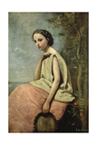Zingara with a Tambourine Giclee Print by Jean-Baptiste-Camille Corot