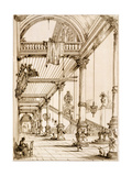 Atrium of a Palace, in Genes, from 'Art and Industry', Published by Delatre, Paris, 1857 Giclee Print by Jean Francois Albanis De Beaumont