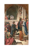 Edward III Conferring the Order of the Garter of Edward the Black Prince, 1847 Giclee Print by Charles West Cope