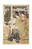 P.359-1945 Scene 12, Comparison of Celebrated Beauties and the Loyal League, C.1797 Gicléetryck av Kitagawa Utamaro