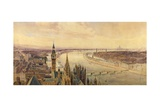 Architectural Panorama of a Proposed Scheme for the South Bank of the Thames, C.1861 Giclee Print by Henry Newton