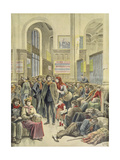 Italian Emigrants at Gare Saint-Lazare, from 'Le Petit Journal', 29th March 1896 Giclee Print by Henri Meyer