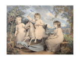 Portrait Group of Three Children, Possibly Sophie, Charles and Frances Burney Giclee Print by Edward Francis Burney