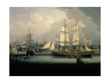 Four-Masted Clipper Ship in Liverpool Harbour, C.1810 Giclee Print by Robert Salmon
