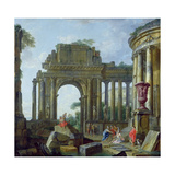 Roman Ruins with the Blind Belisarius Impression giclée par Giovanni Paolo Pannini