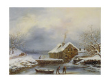 Frozen River Scene with Figures Giclee Print by Louis Claude Mallebranche
