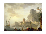 A Mediterranean Harbour Scene at Sunset Giclee Print by Charles Francois Lacroix de Marseille