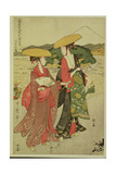 P.355-1945 Scene 8, Comparison of Celebrated Beauties and the Loyal League, C.1797 Gicleetryck av Kitagawa Utamaro