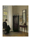 Interior with Woman Reading Giclee Print by Carl Holsoe