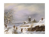 Winter Scene with Figures Giclee Print by Louis Claude Mallebranche