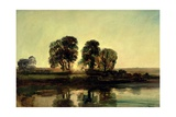 River Landscape at Sunset Giclee Print by Peter De Wint