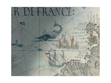 Facsmile of Whaling and Isle of Saint Brandon, Detail from a Portolan Map by Pierre Desceliers,… Giclee Print