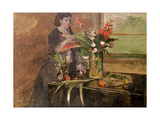 Young Woman Arranging Flowers, 1872 Giclee Print by Edgar Degas