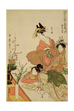 P.351-1945 Scene 4, Comparison of Celebrated Beauties and the Loyal League, C.1797 Gicleetryck av Kitagawa Utamaro