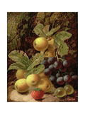 Still Life with Apples, Grapes, Strawberry and Gooseberry Giclee Print by Oliver Clare