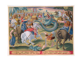 The Roman Consul Atilius Subdues the African Serpent, Plate 42 from 'Venationes Ferarum, Avium,… Giclee Print by Jan van der Straet