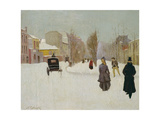 French Street Scene with Snow Giclee Print by Norbert Goeneutte
