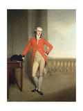 Portrait of an Officer with a View of Calcutta Beyond Giclee Print by John Thomas Seton