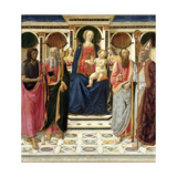 Virgin and Child with Ss. John the Baptist, Andrew, Bartholomew and Zenobius, C.1478 Giclée-tryk af Cosimo Rosselli