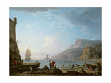 Morning Scene in a Bay, 1752 Giclée-Druck von Claude Joseph Vernet